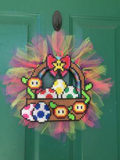 mario easter wreath perler