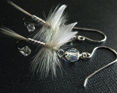 White Earrings Fishing Flies Sterling Silver
