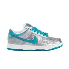 Womens Nike Dunk Lo 6.0 Athletic Shoe - Silver/Turquoise/Glitter  $84.99