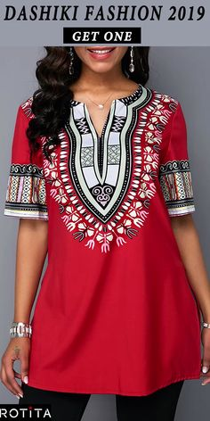 African Folk Art Top For Women Dashiki Print Split Neck Side Slit Blouse Stylish Tops For Girls, Trendy Tops For Women, Blouses For Women, Women's Blouses, African Print Fashion, Fashion Prints, Dashiki, Fashion Dresses, Fashion Blouses