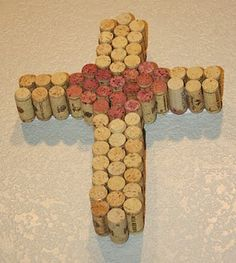 Wine cork cross made for my mother-In-Law #WineALittle #CorkCrafts #ByIlzeLara