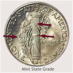 Areas to Judge and Identify on the Reverse a Mint State Grade Stars Mercury Dime Old Coins Worth Money, Old Money, Silver Dimes, Silver Coins, How To Clean Coins, Silver Value, Old Coins Value, Money Bill, Valuable Coins