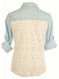 Lace Back Denim Shirt