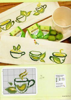 Arquivo de Artesanato Cross Stitch Borders, Cross Stitch Flowers, Cross Stitch Patterns, Cross Stitch Kitchen, Food Patterns, Cute Cups, Embroidery, Coffee, Kitchen Towels