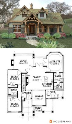 Mountain House Plan and Height House Plans - . I love the look and floor plans of this beautiful little cottage. Near perfect floor plan House Plan 65094 Tranquility House Plan Basement House Plans, Craftsman House Plans, Walkout Basement, Basement Layout, 3 Bedroom Home Floor Plans, Craftsman Cottage, Craftsman Interior, Garage House, House Plans With Garage