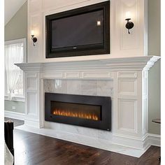Like recessed TV, Fireplace and lights