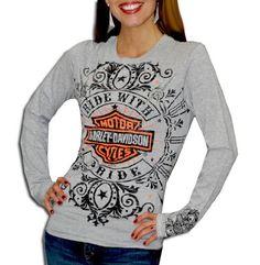"Harley-Davidson Womens Button ""Ride With Pride"" Grey Long Sleeve T-Shirt  http://bikeraa.com/harley-davidson-womens-button-ride-with-pride-grey-long-sleeve-t-shirt/"