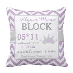 Purple Grey Crown Child Announcement Pillow. *** Have a look at even more by going to the picture