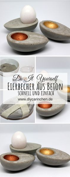 DIY egg cup made of concrete in egg shape just do it yourself + instructions - DIY Ostern / Frühling basteln - DIY eggcups made of concrete in egg shape very easy to do yourself: DIY, handicrafts, DIY, concrete - Fleurs Diy, Thrift Store Crafts, Easter Celebration, Egg Shape, Egg Cups, Just Do It, Household Items, Boho Decor, Thrifting