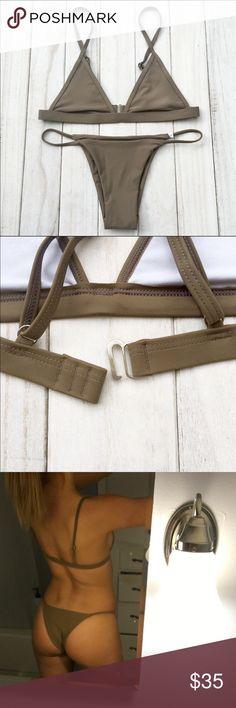 Khaki bikini Never been worn, in original packaging!! Has adjustable bra straps Swim Bikinis