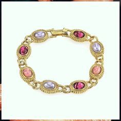 (This is an affiliate pin) 1928 Jewelry 14K Gold Dipped Oval Light and Dark Amethyst Colored Stones Link Bracelet Amethyst Color, Gold Dipped, Colorful Bracelets, Link Bracelets, Light In The Dark, Stones, Jewelry, Rocks, Jewlery
