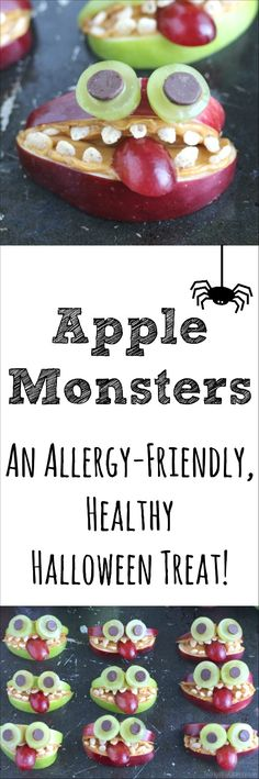 These silly Apple Monsters are fun, nut-free, healthy Halloween treats! Allergy friendly and perfect for Halloween class parties! ~ from www.TwoHealthyKitchens.com