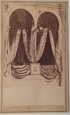 CDV featuring The Presidential Box at Ford's Theatre site of Lincoln assassination. Photographed the morning after undisturbed from the night before. Published by E. & H.T. Anthony (c. 1865).  *s