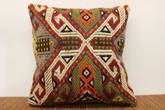 Tribal throw cushion cover rustic kilim pillow by ANATOLIANRUGS, $25.75