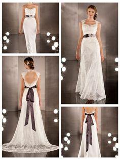 Luxurious Sheath Wedding Dress Overlay Lace Illusion Neckline and Keyhole Back