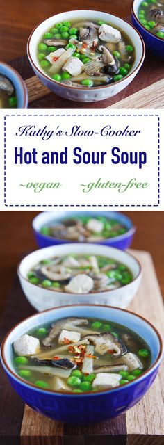 Slow cooking mushrooms in ginger and garlic broth gives this vegan hot and sour soup a deep and delicious flavor. Perfect crock pot meal!