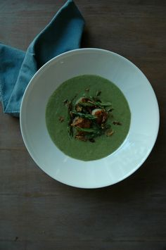 Creamy Asparagus Soup with Seared Scallops AnAppealingPlan.com via @KraylFunch - #SundaySupper