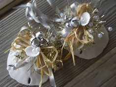 homemade sand dollar ornaments   Jingle Bell Sand Dollar Holiday Ornament with Pearls and Pretty ...