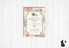 Tea Party Baby Shower Tea Party Invitation - Floral, Vintage, Pink ...