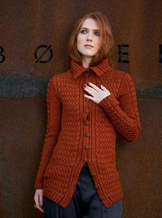 Cabled jacket knitting pattern. Ena by Linda Marveng knit using The Fibre Co. Acadia.