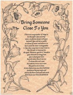 Bring Someone Close to You Spell - Real Witchcraft Spell Book of Shadows Page BOS Pages Witch Spell Book, Witchcraft Spell Books, Magick Spells, Wicca Witchcraft, Summoning Spells, Witchcraft Spells For Beginners, Real Witches, Wiccan Witch, Witch Spells Real