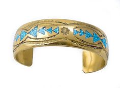 Navajo Golden Bronze Turquoise Chip Inlay Cuff Bracelet -- Awesome products selected by Anna Churchill