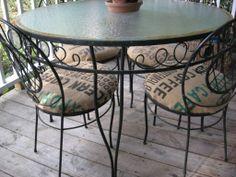 Coffee Sack Covered Chair Cushions #diy