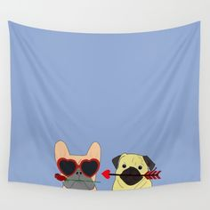 New In Store Pug and bulldog Love Wall Tapestry. Also available on other home decor products, tech accessories and apparel.