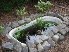 Container Gardening - An Answer To Minimal House For Increasing Vegetation Pictured Is A Bathtub Turned Pond, The Site Gives Many Suggestions For What To Do With An Old Bathtub Garden Bathtub, Old Bathtub, Garden Sink, Bathtub Decor, Garden Art, Clawfoot Bathtub, Water Pond, Water Garden, Duck Pond