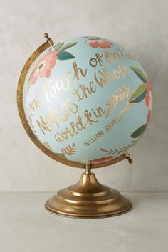 How cute is this hand-painted Shakespeare quote globe?