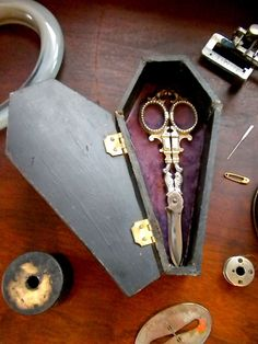 Ornate Seamstresses Victorian Scissors With Original Coffin Case