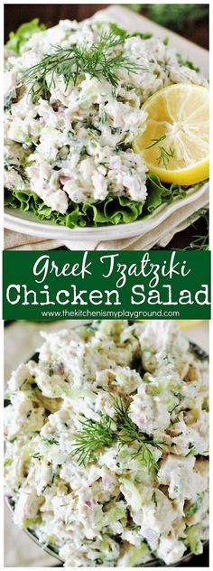 Delicious Greek-style chicken salad made with classic Greek creamy yogurt and cucumber Tzatziki sauce.