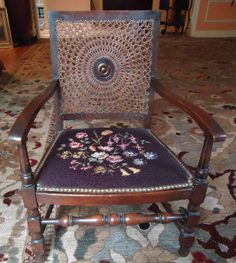 Found on EstateSales.NET: French Needlepoint and Cane Childs Chair