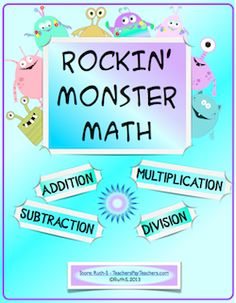 Kids love Rockin' Monster Math! Great review for addition,subtraction, multiplication and division! Can be a cut/paste activity. Rockin' monster award certificates, bulletin board topper, ready to print student worksheets and more. FUN! priced item