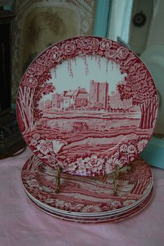 Vtg Enoch Woods Castles Red Transferware 10 by Mycottagepretties, $30.00