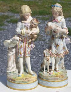 1870's Pair French Bisque Girl Boy Holding Cat Dog w Parrot Figurines WOW | eBay