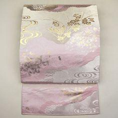 Pink, silk fukuro obi / ピンク地に落ち着いた金銀の袋帯 http://www.rakuten.co.jp/aiyama #Kimono #Japan #aiyamamotoya