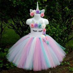 Kids Girls Unicorn Tutu Dress Knee-Length Pastel Rainbow Flower Girl Birthday Party Dress Up Fancy Halloween Unicorn Costume 1st Birthday Tutu, Unicorn Birthday Parties, Birthday Dresses, Girl Birthday, Girls Party Dresses, Long Dresses, Unicorn Outfit, Unicorn Headband, Unicorn Dress Girls