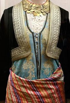 Greek costumes - Athens: National History Museum – costumes More - Greek Traditional Dress, Traditional Outfits, Gypsy Costume, Folk Costume, Greek Fashion, Ethnic Fashion, Historical Costume, Historical Clothing, Greek Dress