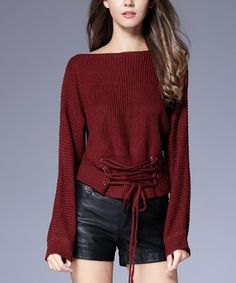Red Lace-Up Boat Neck Sweater