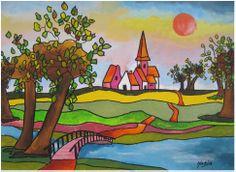 Nadia de Bruin  Naieve schilderkunst.  Kleurrijk dorp met knotwilgen.  30/40 cm.   Acryl on canvas.   Huissen, 30 augustus 2013.