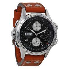 Hamilton Men's Khaki X Wind Automatic Chronograph Men's Watch H77616533 Hamilton, Mens Sport Watches, Luxury Watches For Men, Mens Fashion Wear, Cool Watches, Men's Watches, Chronograph, Brown Leather, Aviation