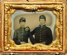 Great Ruby Ambrotype of Two Union Soldiers Smoking Great Headgear