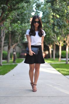 Crystalin Marie: Outfit Mashup - white tee, black fluted skirt