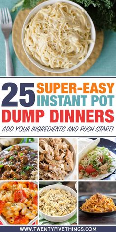 Dump dinners for the Instant Pot: Lots of easy dinner recipes. Dump and push start, then spend time with the family while dinner cooks itself. food recipes 25 Delicious Instant Pot Dump Dinners for Easy Weeknight Meals Dump Dinners, One Pot Dinners, Easy Dinners, Crock Pot Dump Meals, Easy One Pot Meals, Crockpot Dump Recipes, Microwave Recipes, Quick Crock Pot Recipes, Hot Pot Recipes