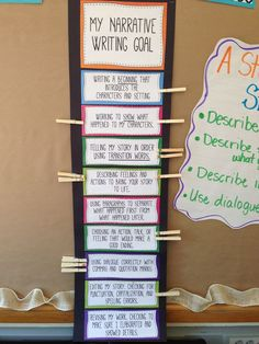 Narrative writing goals clip chart! third grade! opinion and information too!!  http://www.teacherspayteachers.com/Product/Narrative-Information-and-Opinion-Writing-Goal-Chart-863778