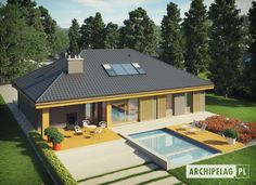 Gabriel G1 ENERGO Modern Pool House, Modern Bungalow House, Cottage Style House Plans, Bungalow House Plans, Modern House Plans, Single Floor House Design, Small House Design, Small House Garden, House Plans Mansion