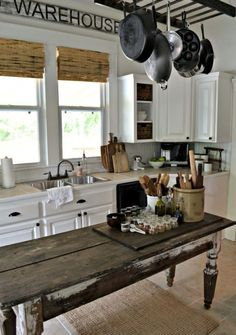 Farmhouse table plans & ideas find and save about dining room tables . See more ideas about Farmhouse kitchen plans, farmhouse table and DIY dining table Farm Kitchen Ideas, Farmhouse Kitchen Island, Farmhouse Table, Rustic Kitchen, New Kitchen, Vintage Kitchen, Kitchen Dining, Farmhouse Decor, Farmhouse Kitchens