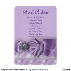 Purple Satin Sweet Sixteen Birthday Party 5x7 Paper Invitation Card
