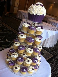 candy and cupcakes in plum,ivory and orange for weddings   via my cupcake heaven